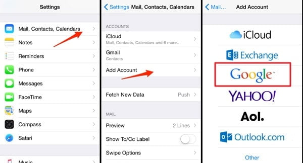 transfer notes from iPhone to Android Using Gmail