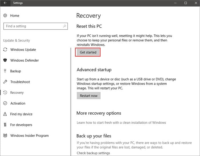 How to repair windows 10 without CD with a reset