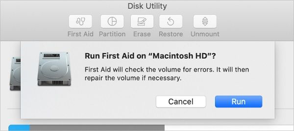 Run First Aid to repair disk to fix The macOS Installation Couldn't be Completed
