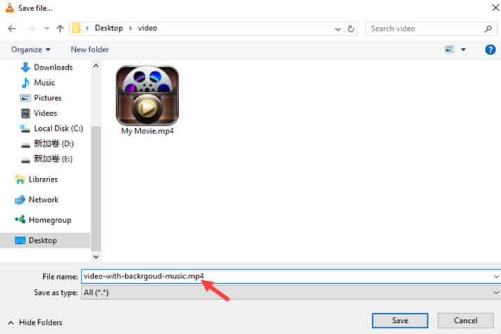 How to merge audio and video in VLC Media Player and save it