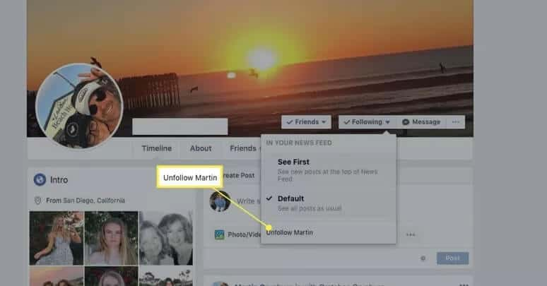 How to unfollow people on Facebookusing Profile Page